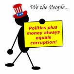 La política más el dinero iguala siempre la corrup esculturas fotograficas