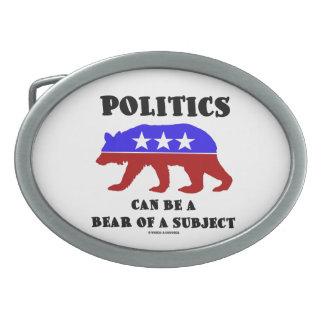 La política puede ser un oso de un tema hebilla cinturon