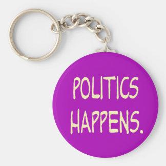 la política sucede llavero personalizado