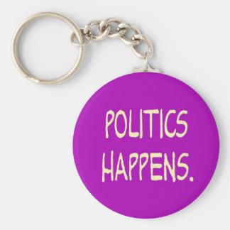 la política sucede llavero redondo tipo pin