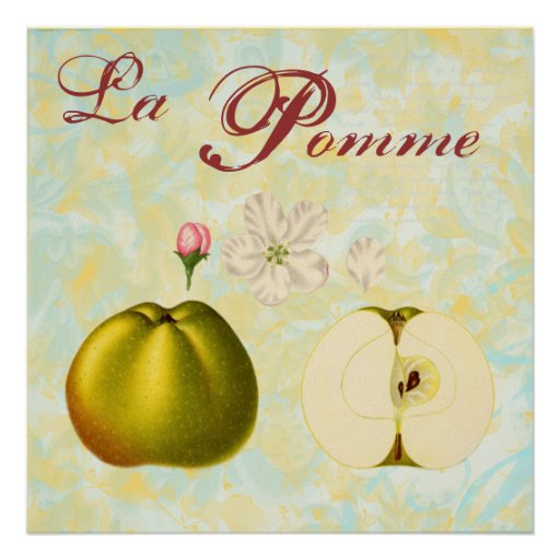La Pomme ~ Vintage Inspired Apple Art Print
