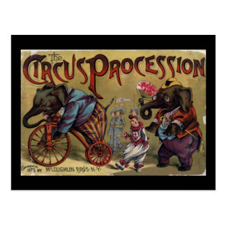 La portada de la procesión del circo tarjeta postal