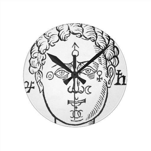 La posición de los planetas en la cabeza humana, p reloj