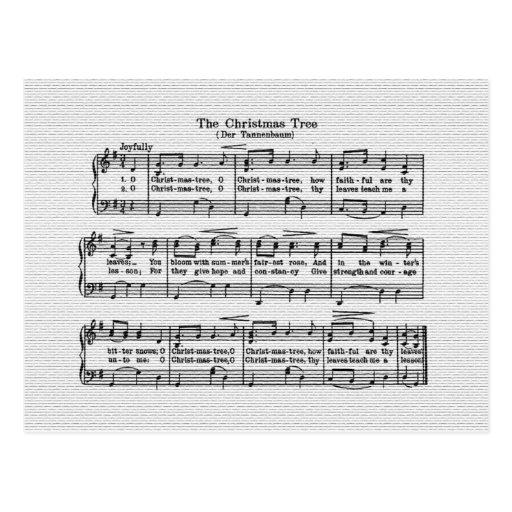 La postal de la canción del árbol de navidad
