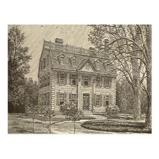 La postal de la mansión de Nueva Inglaterra