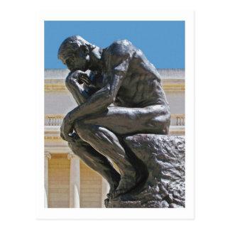 La postal de la pintura de la foto del pensador