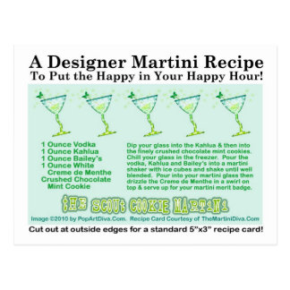 La postal de la tarjeta de la receta de Martini de