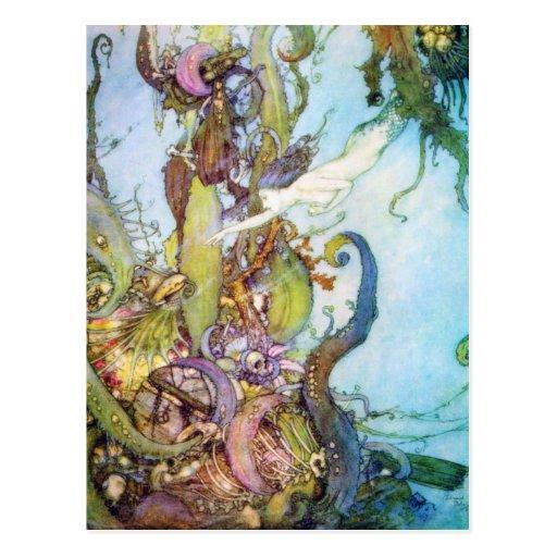 La postal del arte del vintage de little mermaid