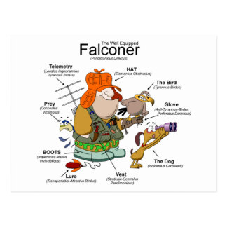 La postal del dibujo animado del halconero