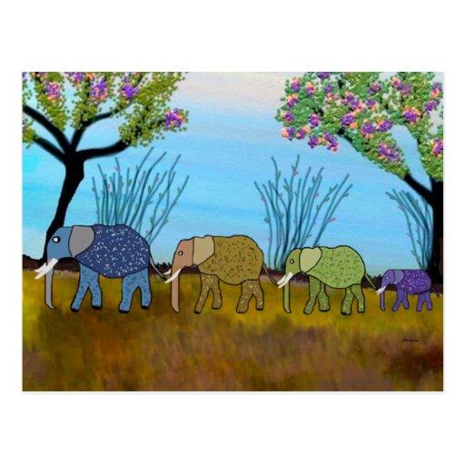 La postal del hábitat del elefante