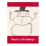 La postal del muñeco de nieve