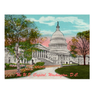 La postal del vintage del capitolio de los E.E.U.U