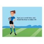 La postal ilustrada fútbol del chica