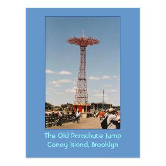 La postal vieja del salto de paracaídas (Coney Isl