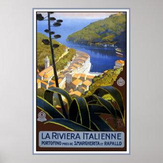 """""""La poster del viaje del vintage de Riviera Italie Póster"""
