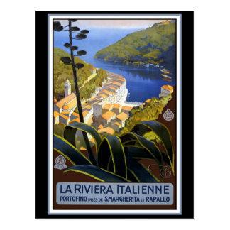 """La poster del viaje del vintage de Riviera Italie Tarjeta Postal"