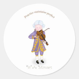 La práctica mantiene perfecto (el violín) pegatina redonda