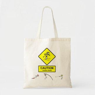 La precaución valla a continuación el atletismo de bolsa lienzo
