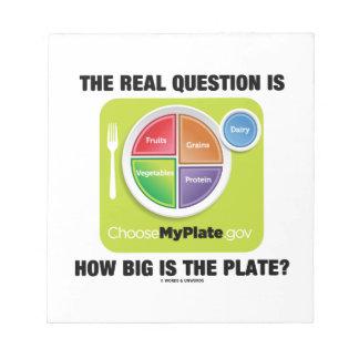 ¿La pregunta real es cómo es grande es la placa? Bloc De Papel
