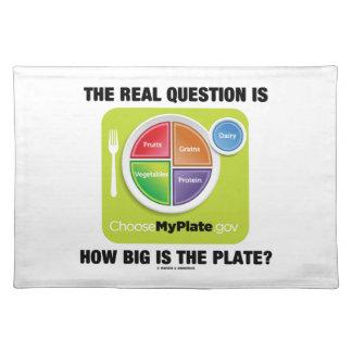 ¿La pregunta real es cómo es grande es la placa? Mantel Individual