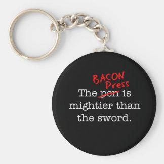 La prensa del tocino es Migthier que la espada Llavero Redondo Tipo Pin
