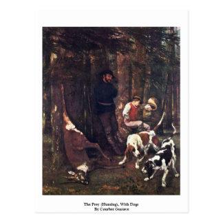 La presa (caza), con los perros de Courbet Gustavo Postal