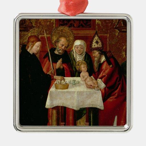 La presentación de la circuncisión en el templo adorno navideño cuadrado de metal