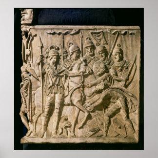 La presentación de un bárbaro a una tropa romana póster