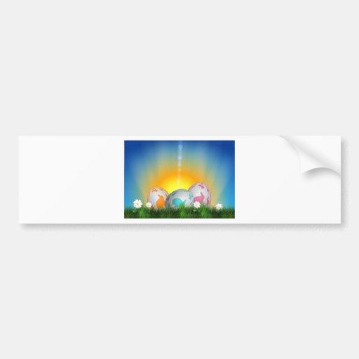 La primavera animal linda florece el conejito de p etiqueta de parachoque