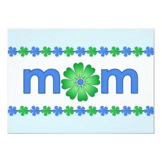 """La primavera azul del día de madre florece la invitación 5"""" x 7"""""""