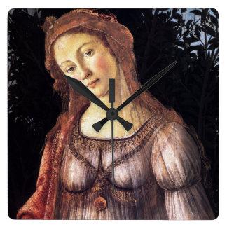 La Primavera by Sandro Botticelli Square Wall Clock