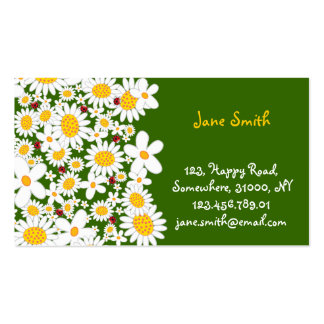 La primavera caprichosa de las margaritas blancas tarjetas de visita