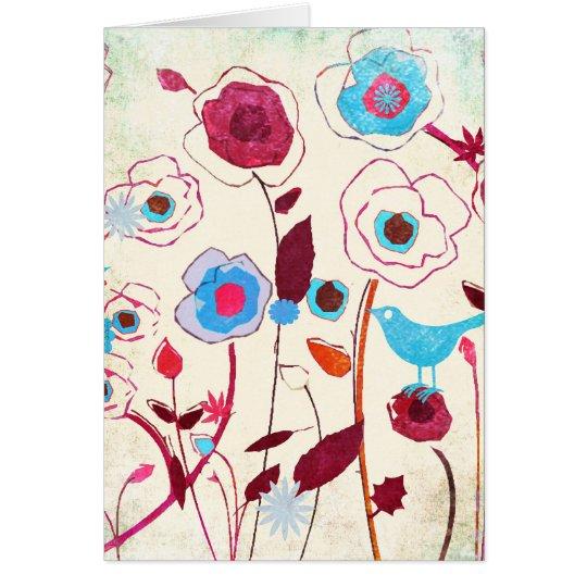 La primavera colorida florece el naranja del azul tarjeta de felicitación