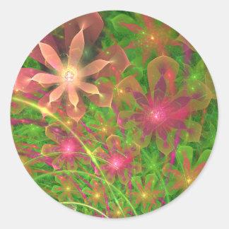 La primavera de Sproingy florece arte del fractal Etiquetas Redondas