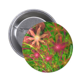 La primavera de Sproingy florece arte del fractal Pin Redondo 5 Cm