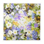 La primavera del vitral florece verde violeta amar teja cerámica