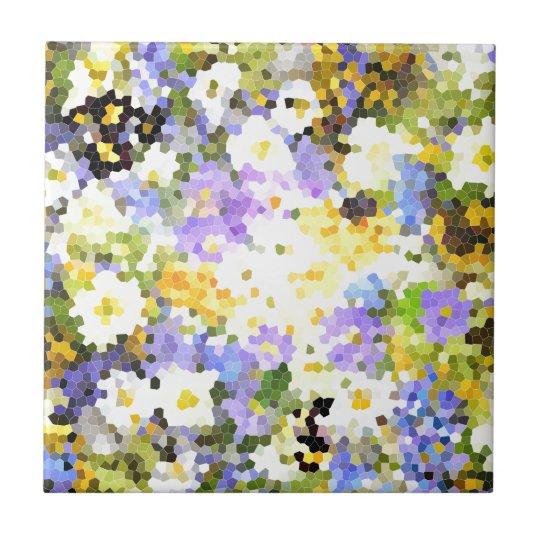 La primavera del vitral florece verde violeta amar azulejo cuadrado pequeño