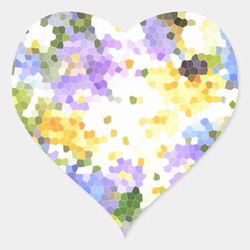 La primavera del vitral florece verde violeta pegatina en forma de corazón