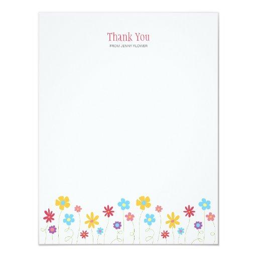 """La primavera enrrollada florece le agradece invitación 4.25"""" x 5.5"""""""
