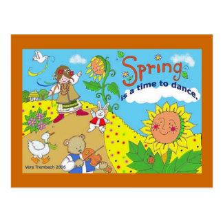 La primavera es una época de bailar arte popular tarjetas postales