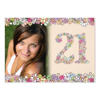 """La primavera florece 21ra foto del cumpleaños de invitación 5"""" x 7"""""""