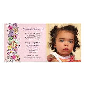 La primavera florece 2do cumpleaños de las niñas i tarjetas fotograficas
