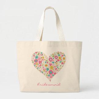 La primavera florece el corazón 2 que casa el bolsa de tela grande
