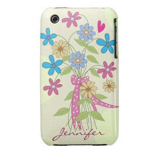 La primavera florece el ramo y el nombre iPhone 3 Case-Mate funda