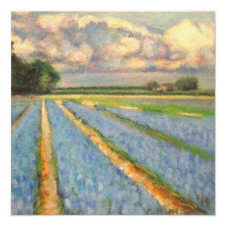 """La primavera florece el tríptico del paisaje que invitación 5.25"""" x 5.25"""""""