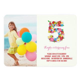 """La primavera florece la 5ta foto del cumpleaños invitación 5"""" x 7"""""""