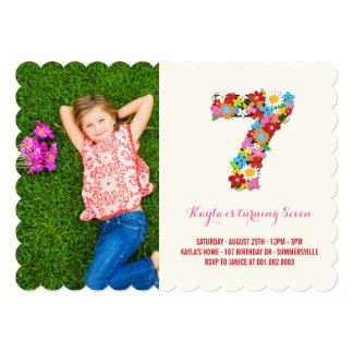 La primavera florece la 7ma foto del cumpleaños de invitacion personalizada