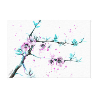 La primavera florece la lona envuelta rosa de los  impresion en lona