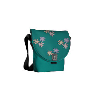 La primavera florece verde en colores pastel bolsa de mensajeria