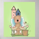 La primavera ha saltado, oso adorable de la maripo poster
